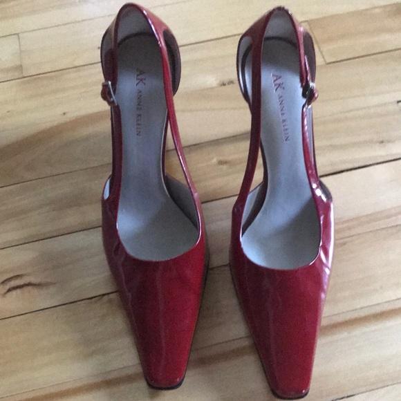 92b70bb977b Anne Klein Shoes - Anne Klein red patent leather kitten heel pumps